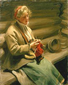 Knitting Kulla 1901. A Kulla is a woman from Dalecarlia / Dalarna in Sweden Anders Zorn