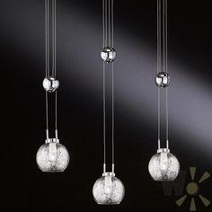 Inspirational Kugelrunde Leuchtenserie Chrom mit Borosilicatglas klar Pendelleuchte H henverstellbar