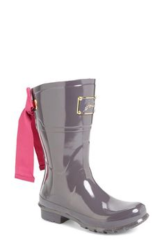 Womens Ladies Bow Ankle Short Wellies