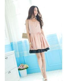 Pink New Summer Korean Fashion One Size Chiffon Dots Spliced Women Dress HXA1713p : $14.75 in Maxnina.com.