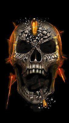 Bullet Through Black Skull Illustration Rauch Tattoo, Art Harley Davidson, The Crow, Totenkopf Tattoos, Skull Pictures, Skull Artwork, Skull Wallpaper, Skull Island, Skulls And Roses