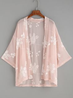 Online shopping for Flower Embroidered Semi-Sheer Kimono from a great selection of women's fashion clothing & more at MakeMeChic.COM.