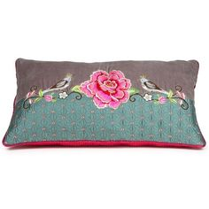 Appliqued and embroidered cushion with satin finish and fuchsia back.