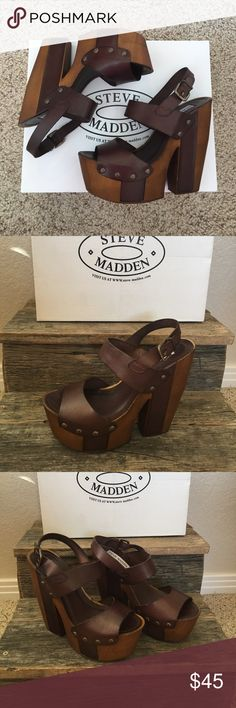 Steve Madden- Venus Brown Leather Step in to some style with these beautiful brown strap platforms!!! Wooden heel!!! Buckle detailing!! Don't miss out!! Steve Madden Shoes Platforms