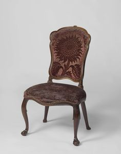 Netherlands Rococo chair, ca. 1760 - ca. 1775 - sunflower motif utrecht velvet