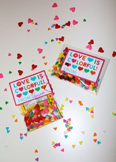 Colorful Confetti Heart Sprinkles & Candy Valentines! With #FREE Printable! — The Queen of Swag!