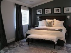 Charcoal Gray Master Bedroom Suite... Slowly I'm turning our bedroom into something similar. :)