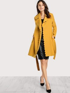 14a8e9dbe5 Yellow Coat, Yellow Fabric, Belted Coat, Wrap Coat, Sewing Clothes, Hijab
