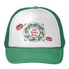 PHOTO Kiss Me I'm Irish  Green Striped Circle Kiss Trucker Hat    ADD YOUR FAVORITE PHOTO AND ADD MORE KISSES!    *This design is available on t-shirts, hats, mugs, buttons, key chains and much more*