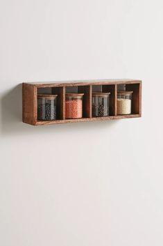 Long Wall Shelves, Corner Wall Shelves, Wood Wall Shelf, Wood Shelves, Shelving, Glass Storage Jars, Jar Storage, Storage Rack, Kitchen Wall Storage