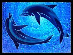 Inspiré de la fresque aux dauphins du palais de Cnossos en Crète… #fractal #art #deco #sea #ocean #dolphins