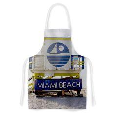 """Philip Brown """"Miami Beach Lifeguard"""" Blue Multicolor Artistic Apron"""