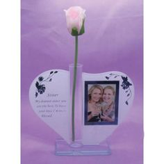 Wife Memorial Heart Shape Glass With Silk Flower Holder Grave Verse Plaque