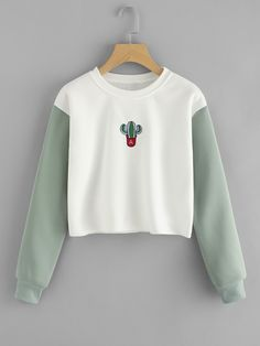To find out about the Cactus Embroidered Contrast Sleeve Raw Hem Sweatshirt at SHEIN, part of our latest Sweatshirts ready to shop online today! Cute Sweatshirts, Sweatshirts Online, Printed Sweatshirts, Cute Shirts, Hoodies, Outfits For Teens, Cool Outfits, Cute Fashion, Fashion Outfits