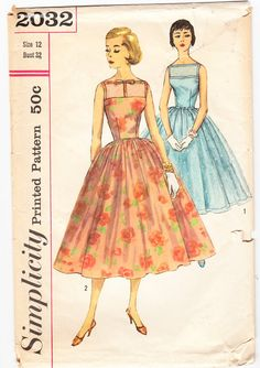 Vintage 1957 Simplicity 2032 Sewing Pattern Misses' One-Piece Dress and Jacket Size 12 Bust 32