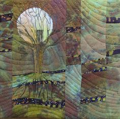 Diane Wright art quilts - nice! looks like it's done with hand dyed silk noil.
