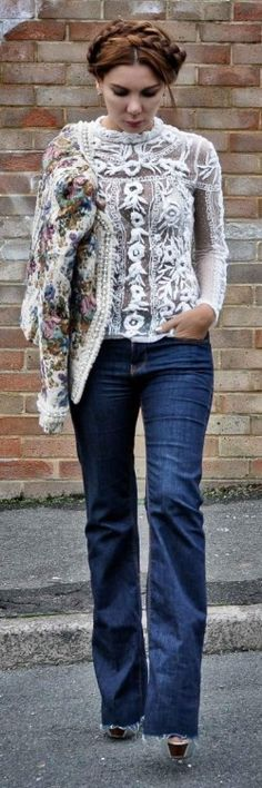 Simona Mar: Tapestry jacket, Swiss dots and heavy embroidery