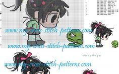 Chibi Vanellope cross stitch pattern