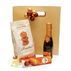Rustici este un cadou delicios, cu ciocolata, sampanie si biscuiti.
