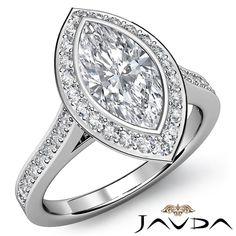 Marquise Diamond Engagement Bezel Set Halo Ring GIA I SI1 14k White Gold 1 52 Ct | eBay