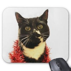 Christmas Cat Mouse Pad - black and white gifts unique special b&w style