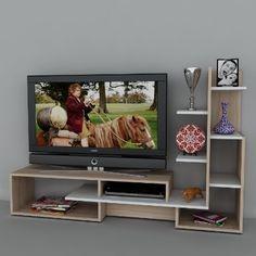 Wohnwand Mild - Weiß / Buche - Fernsehtisch - TV Board in modernem Design