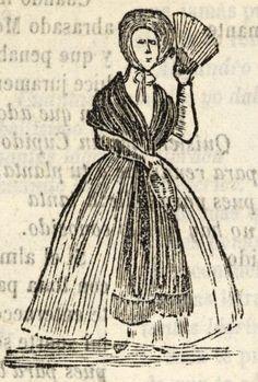 Mujer con abanico abierto