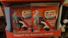 One of our customer's favorite treats...delicious and helps support our vets and their service dog, double win!  www.buddyspetstop.com