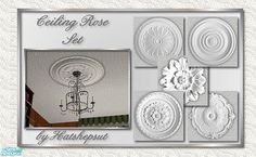 Set of decorative ceiling roses to pretty up those light fittings. Blends seamlessly with the default maxis ceiling tile. Found in TSR Category 'Walls & Floors' Ceiling Rose, Ceiling Decor, Around The Sims 4, Victorian Goth, Light Fittings, Vintage World Maps, Flooring, Sims 2, Regency