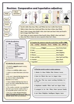 Comparative and Superlative Adjectives Worksheet 1 Free