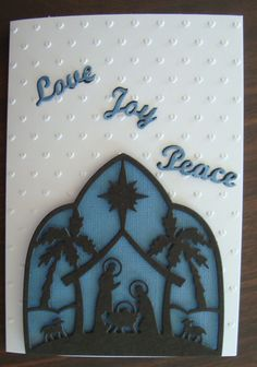 Cottage Cutz Nativity Silhouette and Elizabeth Craft Designs Peace Die Christmas Nativity, Christmas 2015, Christmas Greetings, Handmade Christmas, Christmas Cards, Nativity Silhouette, Elizabeth Craft Designs, Embossed Cards, Diy Projects To Try