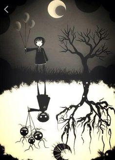 Creepy Shadow - artist unknown to me Arte Horror, Horror Art, Dark Souls, Illustration Photo, Illustrations, Fantasy Kunst, Fantasy Art, Creepy Art, Scary