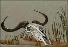Available Now on eBay - Wildebeest skull africa 11x8 ORIGINAL ART WATERCOLOR animal painting Juan Bosco