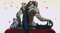 Genji Loves Cats Overwatch Wallpaper