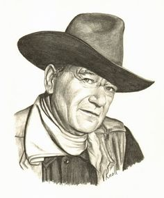 Vicki Knoll hand drew this graphite pencil portrait of John Wayne. Pencil Portrait Drawing, Realistic Pencil Drawings, Pencil Drawing Tutorials, Love Drawings, Pencil Art, Cartoon Drawings, Drawing Ideas, Scary Drawings, Drawing Designs