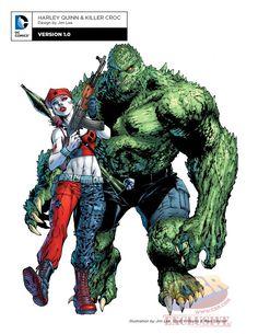 Harley Quinn and Killer Croc DC Rebirth Comic Book Artists, Comic Artist, Comic Books Art, Harley Quinn, Joker And Harley, Comic Book Characters, Comic Character, Character Design, Killer Croc