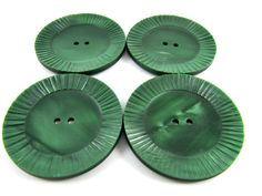 Vintage buttons - Lot of 4 Large Vintage Green Carved Plastic Buttons * 38 mm *** P-127 by TheTreasureBoxOrna on Etsy