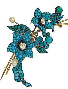 Victorian pavé cabochon turquoise, rose-cut diamond and pearl floral spray brooch, 7.0cm long. A small group of jewellery  Comprising: an old brilliant-cut diamond cluster ring set as a flowerhead, finger size O; a circular wristwatch, with brilliant-cut diamond bezel and shoulders to cordette straps, case 18.0mm wide; a Victorian pavé cabochon turquoise, rose-cut diamond and pearl floral spray brooch, 7.0cm long, some damage, pearls not tested for natural origin.