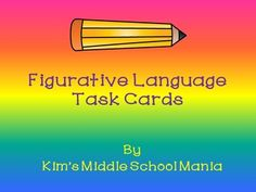 Start of the new school year with a fun review of figurative language. This is a set of 24 figurative language task cards. Figurative language covered: simile, metaphor, hyperbole, personification, alliteration, and onomatopoeia. Answer key included.