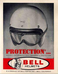 Bell Helmet Ad by -bullittmcqueen- Bike Poster, Motorcycle Posters, Motorcycle Helmets, American Motorcycles, Cool Motorcycles, Vintage Motorcycles, Logos Vintage, Vintage Ads, Vintage Metal