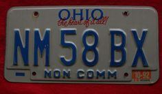 "1991 Ohio License Plate  "" The Heart Of It All "" - NM58BX"