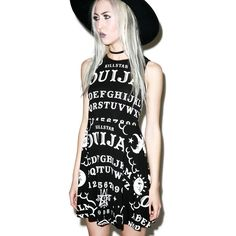 Killstar Ouija Skater Dress featuring polyvore, women's fashion, clothing, dresses, no sleeve dress, sleeveless dress, keyhole skater dress, key hole dress and button back dress