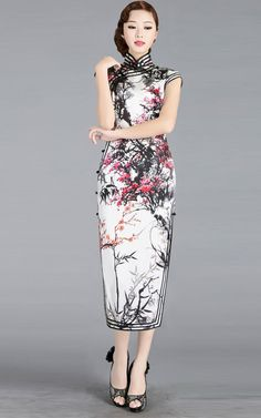 Chinese black and white watercolor painting cherry blossom qipao cheongsam dress | Modern Qipao | Join 5 stores 8 days oriental gift and apparels Christmas giveaway at http://wp.me/p49CzR-4