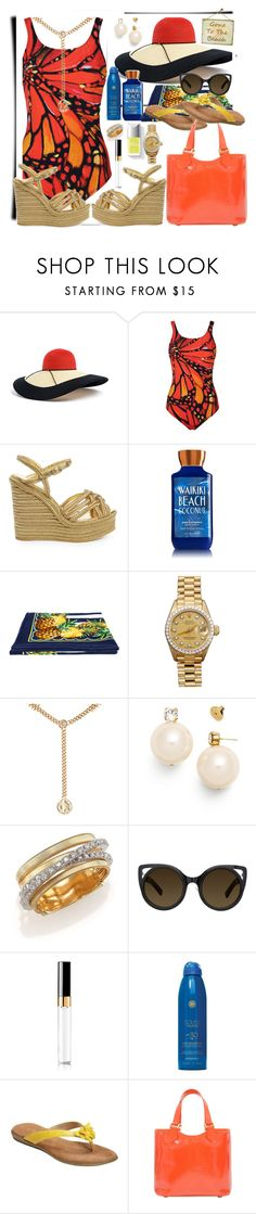 """Beach Time 😎"" by seanahr ❤ liked on Polyvore featuring Eugenia Kim, Gottex, Yves Saint Laurent, Dolce&Gabbana, Couture Colour, Rolex, Maison Mayle, Tory Burch, Marco Bicego and Erdem"