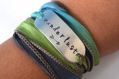 Wanderlust Hand Stamped Ribbon Wrap Bracelet by FancifulWish