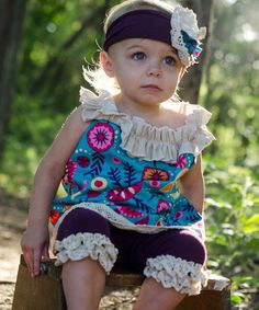 Look at this #zulilyfind! Turquoise Floral Ruffle Yoke Tunic - Infant, Toddler & Girls #zulilyfinds