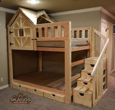 Tudor Paws Dollhouse Bed is a handmade bunk bed with doll house end and . - Tudor Paws Dollhouse Bed is a handmade bunk bed with doll house end and carved dog prints in the dr - Bunk Bed Fort, Bunk Bed Rooms, Loft Bunk Beds, Bunk Beds With Stairs, Kids Bunk Beds, Bunk Bed Playhouse, Loft Bed Plans, Diy Bett, Loft Spaces