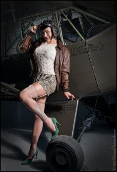 #Pinup girl with a plane