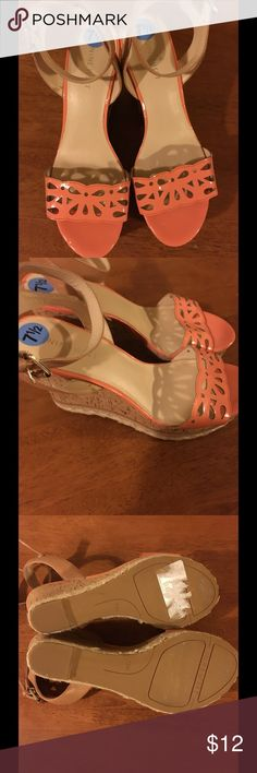 NWOT Nine West 7.5 Sandals Never worn.  Stickers still on top and bottom. Nine West size 7.5.  Peach patent straps and cork wedges.  Important:   All items are freshly laundered as applicable prior to shipping (new items and shoes excluded).  Not all my items are from pet/smoke free homes.  Price is reduced to reflect this!   Thank you for looking!   ***On vacation, orders placed after 7am (eastern) 7/1, don't ship until 7/7. Nine West Shoes Sandals