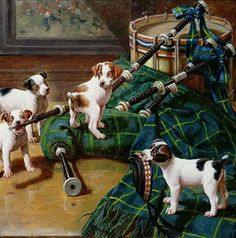 Antique painting with puppy dogs and their master's pipes. By John Hayes.